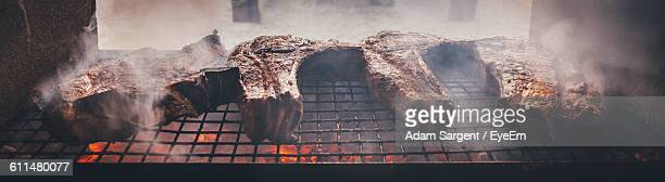 Panoramic Shot Of Meat On Barbecue Grill