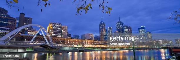 Panoramic shot of Melbourne at night