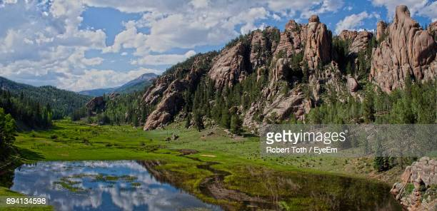 panoramic shot of mountains against sky - colorado springs stock pictures, royalty-free photos & images