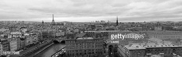 vue panoramique de paris (xxxl - paris noir et blanc photos et images de collection