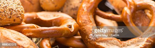 Panoramic Shot Of Pretzels At Market For Sale