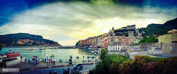 Panoramic Shot Of River By Buildings Against Sky At Porto Venere