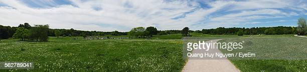 Panoramic Shot Of Road On Grassy Field Against Sky