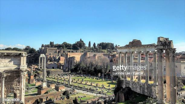 Panoramic Shot Of Roman Forum Against Clear Sky