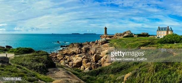 panoramic shot of sea against sky - perros guirec photos et images de collection