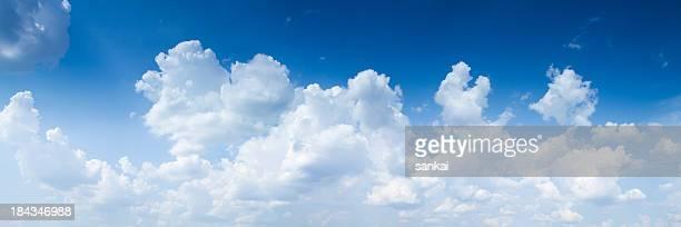 Panoramic shot of sky with giants cumulonimbus clouds