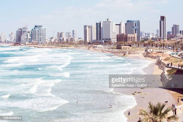 panoramic shot of tel aviv cityscape - tel aviv foto e immagini stock