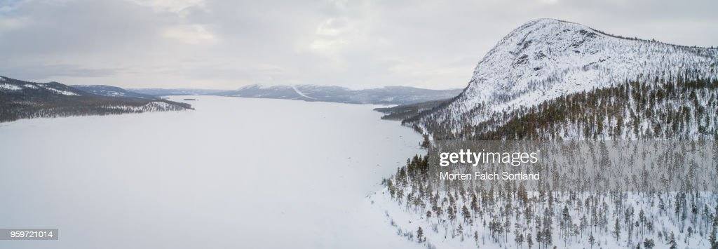 Panoramic Shot of the Snow-Covered Mountain Village of Dagali, Norway Wintertime : Stock-Foto