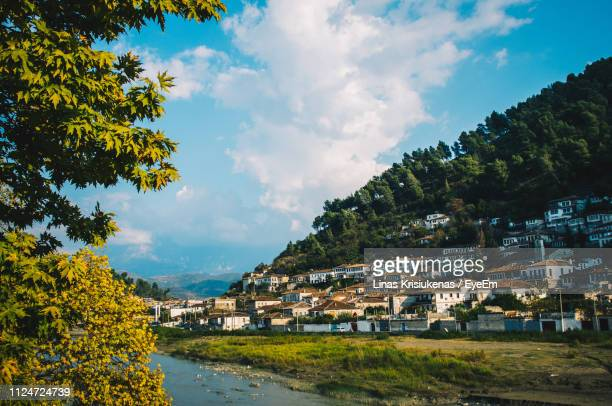 panoramic shot of townscape against sky in city - albania stock pictures, royalty-free photos & images