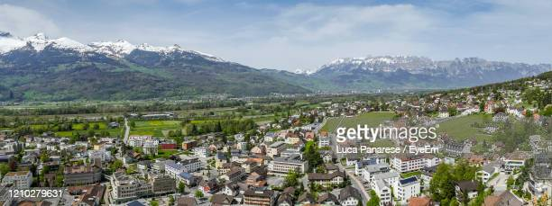 panoramic shot of townscape against sky - principality of liechtenstein stock pictures, royalty-free photos & images