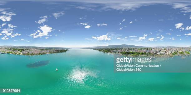 A Panoramic Sky View of Lake Zurich in Summer