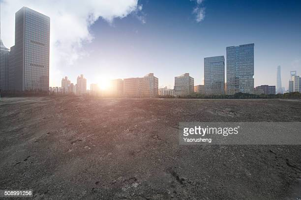 Panoramic skyline and  city buildings with empty road surface