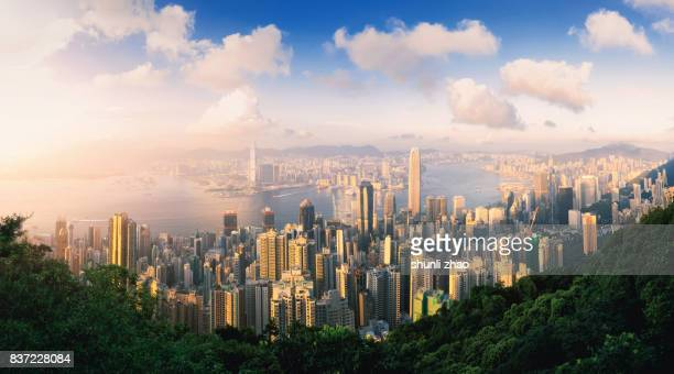 panoramic skyline and cityscape of city hongkong