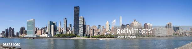 Panoramic skyline of Manhattan including UN, Empire State Building and Matchstick Building from Roosevelt Island, New York, United States of America, North America