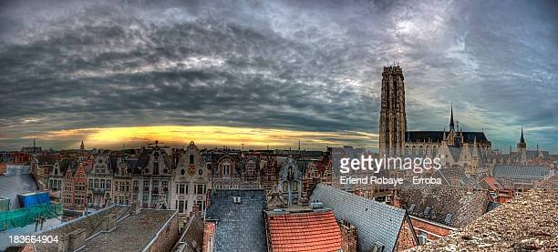 panoramic skyline of mechelen, belgium - mechelen stock pictures, royalty-free photos & images