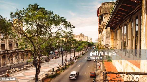 panoramic skyline of old havana cuba - prado stock photos and pictures