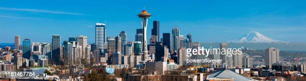 panoramic skyline of seattle in washington state, united states - seattle stock pictures, royalty-free photos & images