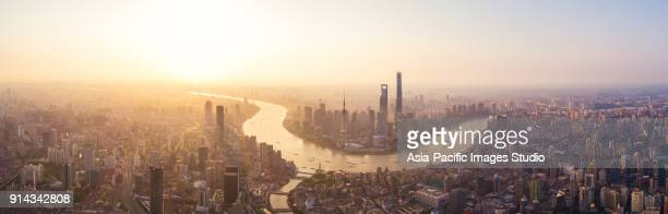 panoramic skyline of shanghai, aerial view. - huangpu river stock photos and pictures
