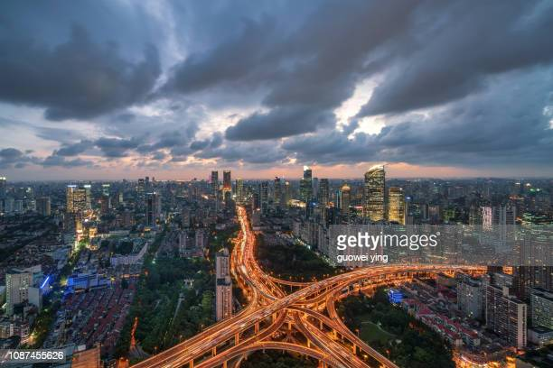 panoramic skyline of shanghai - nanjing road stock pictures, royalty-free photos & images