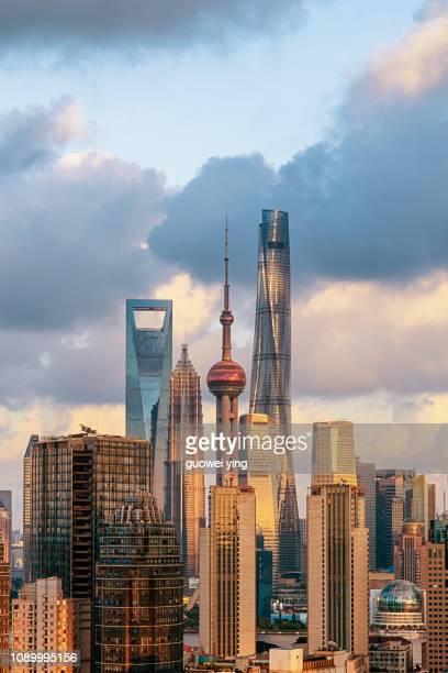 panoramic skyline of shanghai - pudong - fotografias e filmes do acervo