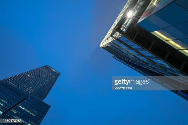 panoramic skyline of shanghai - 塔 stock pictures, royalty-free photos & images