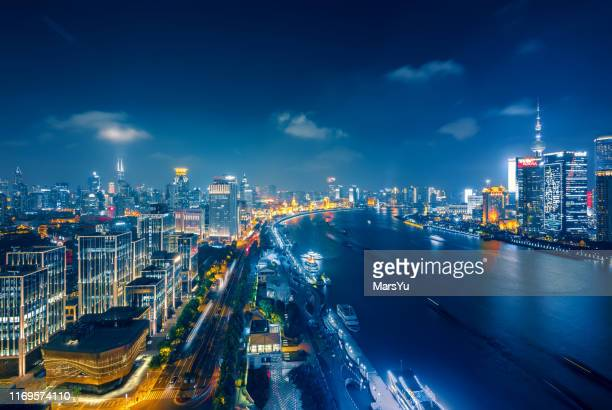 panoramic skyline of shanghai - big data center stock pictures, royalty-free photos & images
