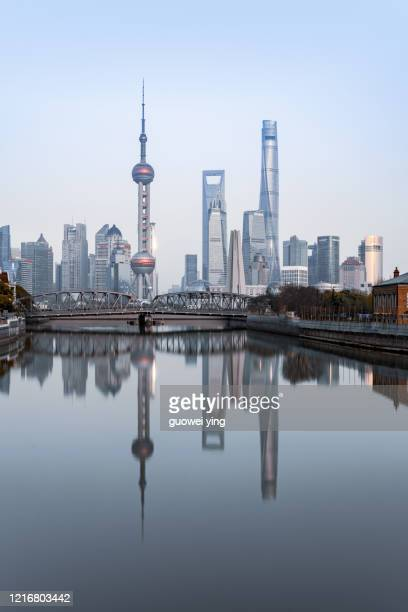 panoramic skyline of shanghai - lujiazui stock pictures, royalty-free photos & images