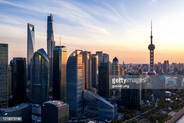panoramic skyline of shanghai - beijing stock pictures, royalty-free photos & images