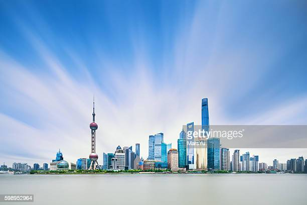 panoramic skyline of shanghai - lujiazui stock photos and pictures