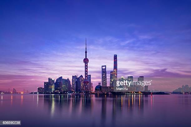 panoramic skyline of shanghai - skyline stock pictures, royalty-free photos & images