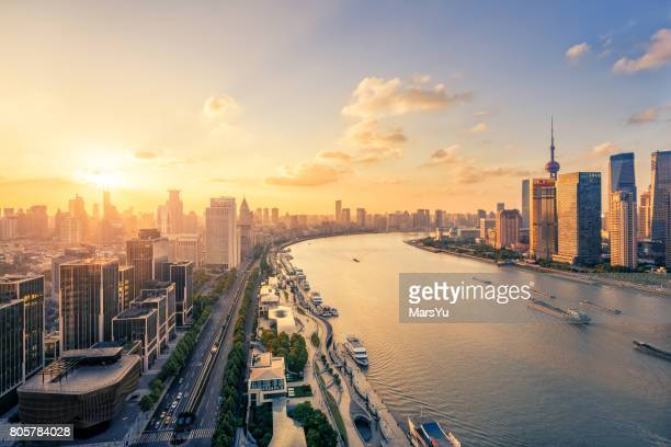panoramic skyline of shanghai - shanghai stock pictures, royalty-free photos & images