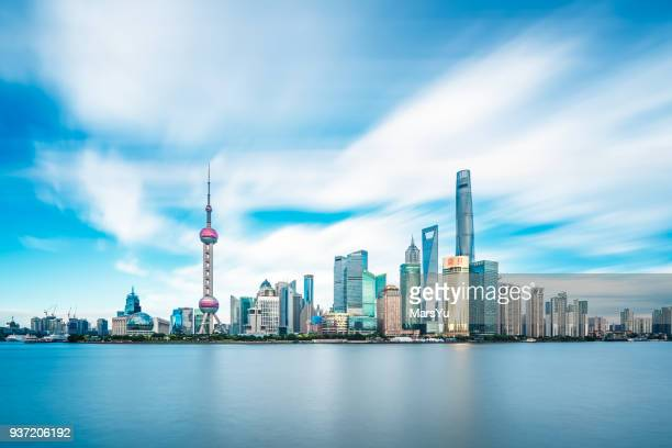 panoramic skyline of shanghai - the bund stock photos and pictures