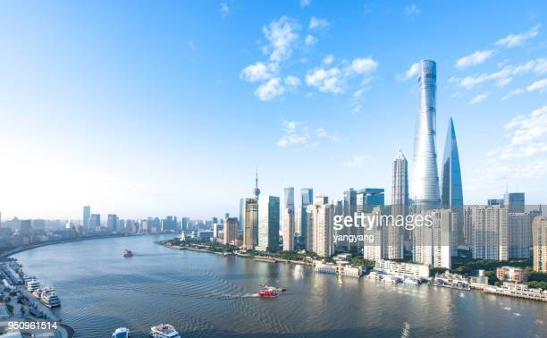 panoramic skyline of shanghai - exterior daylight stock pictures, royalty-free photos & images