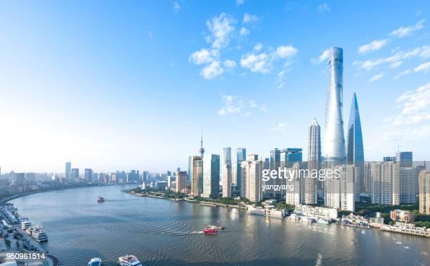 panoramic skyline of shanghai - shanghai foto e immagini stock