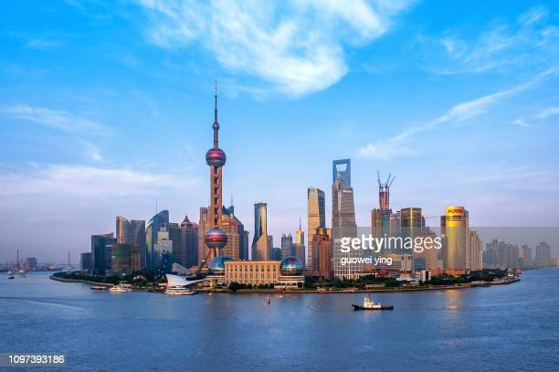 panoramic skyline of shanghai-shanghai center at the time of construction - shanghai stock pictures, royalty-free photos & images