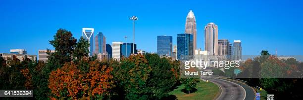 panoramic skyline view of charlotte - charlotte north carolina stock pictures, royalty-free photos & images