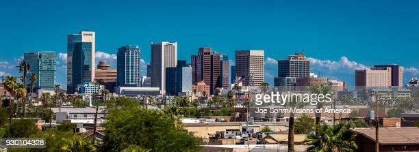 Panoramic skyline view of Phoenix downtown.