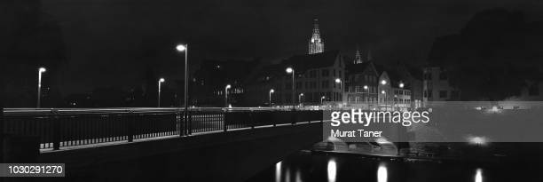 panoramic skyline view of ulm at night - ulm stock pictures, royalty-free photos & images