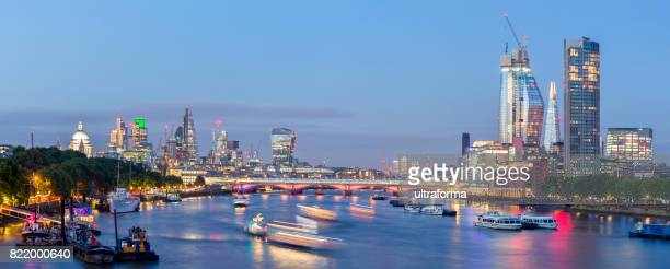 Panoramic skyline with important landmarks of London at dusk