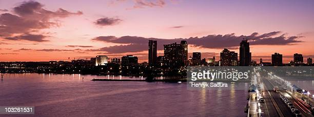 panoramic st. petersburg with sunset   - st. petersburg florida stock photos and pictures