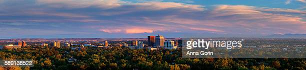 "panoramic summer sunset over downtown boise idaho (""city of trees"") viewed from camels back park - boise idaho stock pictures, royalty-free photos & images"