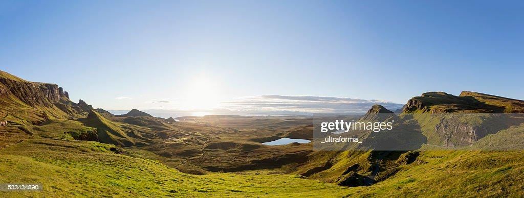 Panoramic Sunrise at the Quiraing on Isle of Skye Scotland : Stock Photo