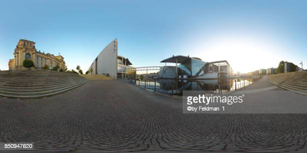 360° panoramic, sunrise in the government district , berlin,germany - 各国の観光地 ストックフォトと画像