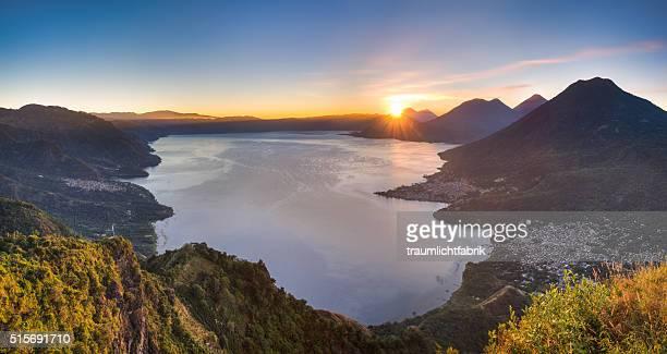 panoramic sunrise over Lake Atitlan