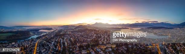 Panoramic sunrise photo of Lucerne city, Switzerland