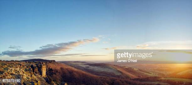 panoramic sunset in peak district national park - dramatic landscape stock pictures, royalty-free photos & images