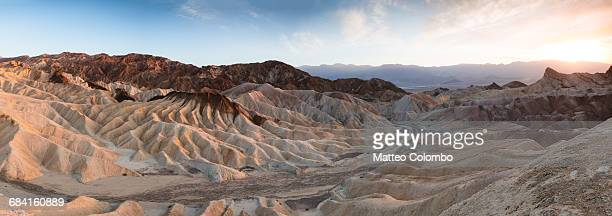 Panoramic sunset of Zabriskie point, Death valley