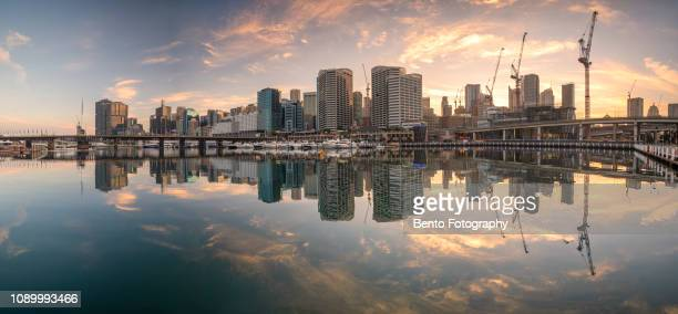 panoramic sydney town from darling harbour, sydney - darling harbour stock pictures, royalty-free photos & images