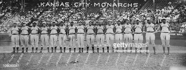 Panoramic team photo of the Negro League Kansas City Monarchs was taken circa 1941 in Kansas City, Missouri. Buck O'Neill and Satchel Paige are in...