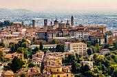 Panoramic veiw on Upper old city (Citta Alta) in Bergamo with historic buildings.
